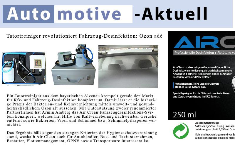 Air Clean bei Automotive-Aktuell: Fahrzeug-Desinfektion: Ozon adé