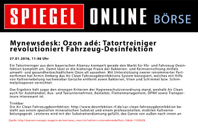 Spiegel Online: Ozon adé: Tatortreiniger revolutioniert Fahrzeug-Desinfektion