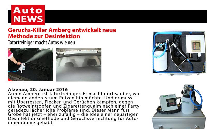 Auto News: Geruchs-Killer Amberg entwickelt neue Methode zur Desinfektion